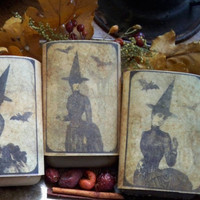 Soy and Beeswax melting cakes tarts 3 pack victorian witch aged paper gift set variety pack Halloween salem Fall fragrance made in Montana