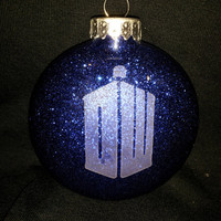 Dr Who Etched Ornament with Glitter