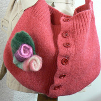 Felted coral bag with FREE brooch