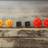 Flower Earring Studs Trio: Pumpkin Orange Daisy, Grey Sakura Blossom, Red Ribbon Flower