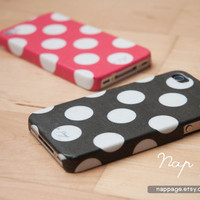 iPhone 4 case , iPhone 4s case and iPhone 3gs case mobile Case handmade : Black polka dot