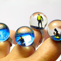 Diver in a tank. Resin ring. Resin jewelry. Modern jewelry. adjustable ring, nautical ring