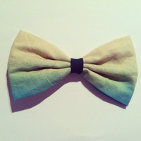 BIG hair bow  - Beige, Turquoise