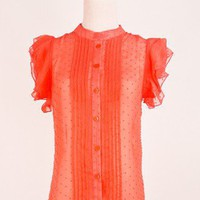Ruche Pleated Dots Shirt - Tops - Retro, Indie and Unique Fashion