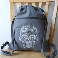 Day of the Dead Backpack Screen Printed Canvas