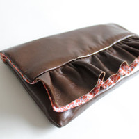 Leather clutch, ruffle clutch OOAK