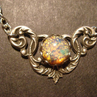 Victorian Style Fire Opal Necklace in Antique Silver (605)