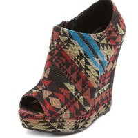 Tribal Peep-Toe Wedge Bootie: Charlotte Russe