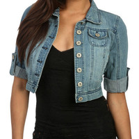 Denim Cropped Cuffed Jacket | Shop Sale at Wet Seal
