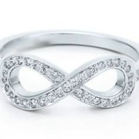 0.15 CT F-VS NATURAL ROUND BRILLIANT DIAMOND INFINITY RING WHITE GOLD 14K | eBay