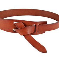 Leather belt with knots- Dark Brown  for 15% discount