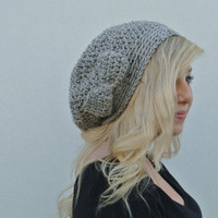 Slouchy Beanie Hat With Bow in Grey Marble