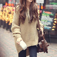 Women Stylish Korean Loose Sweater Long Irregular Hem Hoodies Outerwear Beige