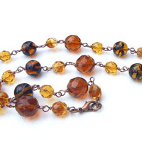 Golden Amber Brown Necklace