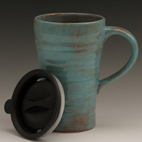 Ceramic travel mug with lid - blue and brown