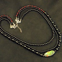 Multi-Strand Black Red Dragon and Plain Reversible Focal Bead Necklace