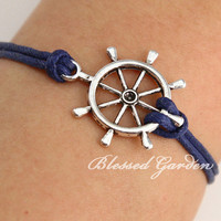 Rudder bracelet, navy bracelet, nautical bracelet, ocean cord, antique silver anchor, gift to bestfriend