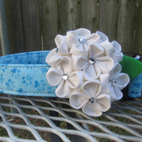 Dog collar and Flower - MADE TO ORDER - Blue Pawprint collar and White Silk Hydrangea Flower