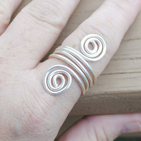 Wire Wrapped Ring Silver Wrap Around Spirals
