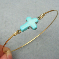 Turquoise Cross Brass Bangle Bracel.. on Luulla