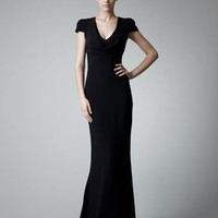 Alexander McQueen Fitted Cap-Sleeve Gown, Black