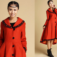 High-low hem wool coat with orange dotted detail (338)