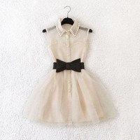 Custom Contrast Bow Dress