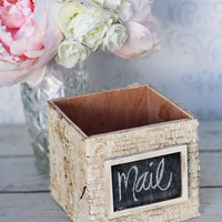Rustic Birch Bark Home Decor Basket With Chalkboard Tag