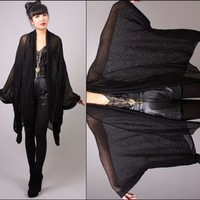 vtg 80s black SPIDERWEB sheer loose knit DRAPED goth mesh kimono cape jacket top
