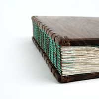 custom Anniversary photo album unique wood book in Black Walnut-  teal blue brown forest woodland large personalized / made to order