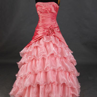 A-line Strapless Sleeveless Floor-length Satin Organza Prom Dresses With Paillette Beading Free Shipping
