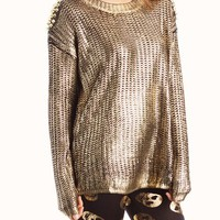 metallic-spiked-shoulder-patch-sweater BLACKGOLD BLACKSLVR - GoJane.com