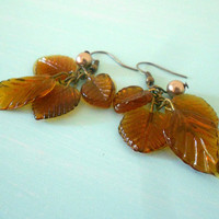 AUTUMN CASCADE Fall Dangly Woodland Earrings with Glass Leaves in Amber Brown &amp; Bronze Swarovski Pearl from Dryad Dreams