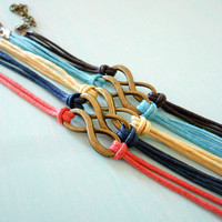 Made to Order - Infinity Knotted Adjustable Bracelet in Brown, Navy, Coral, Yellow or Turquoise Cotton Cord - you pick ONE color