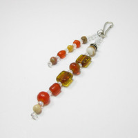Birthstone Beaded Keychain - Orange Beaded Purse Charm