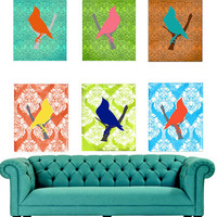 Art Print Modern Birds Set of 3 Your Choice Plus Bonus Print