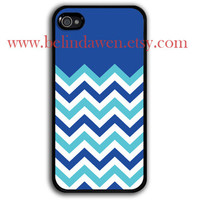 iPhone 4 Case, iphone 4s case, chevron iphone 4 case, blue and mint green chevron iPhone Hard Case