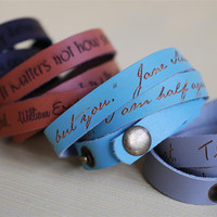 Your favorite quote --- custom engraved leather wrap bracelet