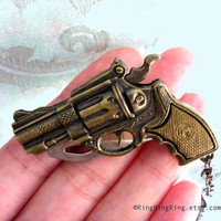 gun knife necklace Revolcer pistol on GUNMETAL by RingRingRing