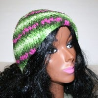 Green Pink Beige Striped Crocheted Cap