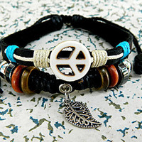 Peace logo  Leather Bracelet  acrylic jewelry / exotic adjustable metal bracelet Leather Bracelet wooden bead and hollowed tube