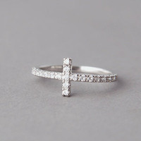 CZ SIDEWAYS CROSS RING WHITE GOLD PLATED HORIZONTAL CROSS JEWELRY by Kellinsilver.com - fashion Jewelry Online Shop as ETSY