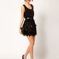 Warehouse Feather Skirt at asos.com
