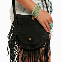 Suede Fringe Shoulder Bag $48