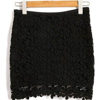 Sexy Black Mini Skirt in  Floral Lace with Side Zip Closure
