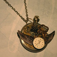 Necklace  Steampunk Pocket Watch Pendant   Time by flamingosales