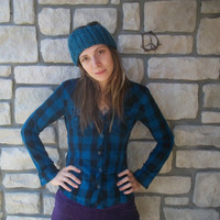 Turquoise Ear Warmer / Teal Neck Warmer / Wool Cowl or Headband