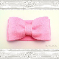 Knit Bow Headband Large Knitted Bow Ear Warmer Blush Pink
