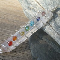 Quartz Crystal Chakra Wand Pendant, SS Fill Wire Wrapped