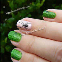 Black Spider and Spider Web Nail Decals - Multi Sizes for Full Nail Coverage